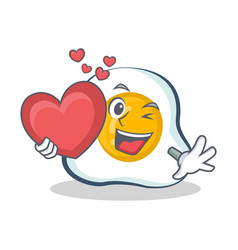 Fried egg character cartoon with heart vector