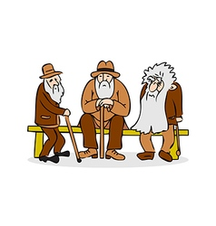 Funny three old men sitting on the bench vector