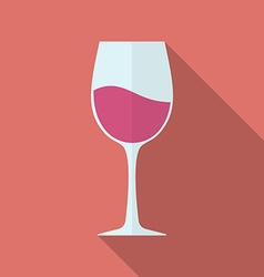 Glass of wine icon Flat style vector