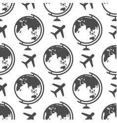 Globe and airplane seamless pattern - or travel vector