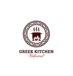 greek kitchen restaurant logo icon vector image