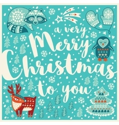 Greeting Holiday card with raccon deer penguin vector image