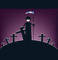 halloween death character scary cartoon grim vector image