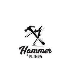 Hammer and pliers icon logo design silhouette vector