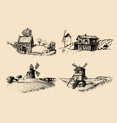 Hand drawn old rustic mills images rural vector