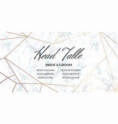 Head table bride and groom template card vector