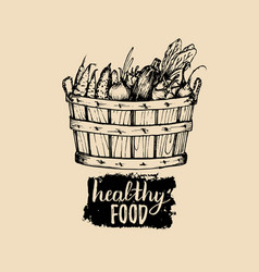 healthy food logo farm eco products vector image