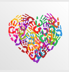 Heart handprints vector