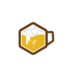 hexagon beer logo icon design vector image