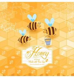 Honey template background Vintage frame with Honey vector