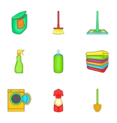 House cleaning icons set cartoon style vector