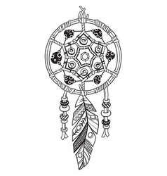 indian dream catcher with ethnic ornaments and vector image