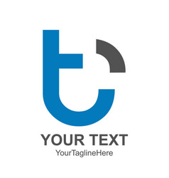 initial letter t logo template colored blue black vector image