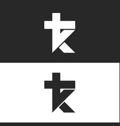Initials tk logo simple mark kt monogram emblem vector