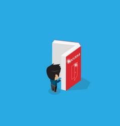 isometric businessman open a book success concept vector image