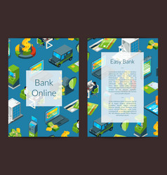 isometric money flow in bank icons card vector image
