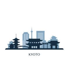 kyoto skyline monochrome silhouette vector image