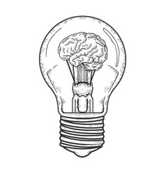 Lamp with brain inside sketch vector