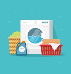 laundry machine with washing clothing and linen vector image