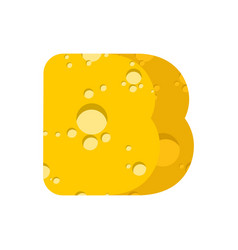 letter b cheese font symbol of cheesy alphabet vector image