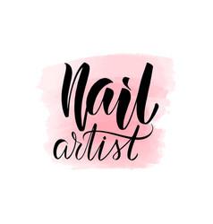 Lettering nail artist vector