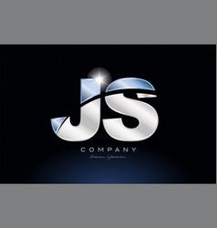 Metal blue alphabet letter js j s logo company vector