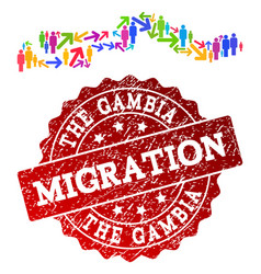 Migration collage of mosaic map of the gambia and vector