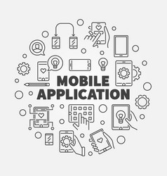 mobile application round outline vector image