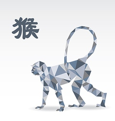 Monkey polygon origami zodiac vector image