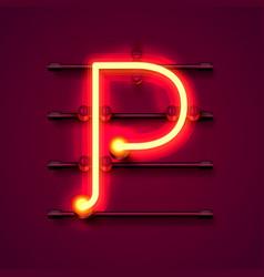 Neon font letter p art design signboard vector