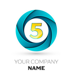 Number five logo symbol in colorful circle vector