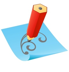 Pencil with paper page vector image