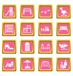 playground equipment icons set pink square vector image