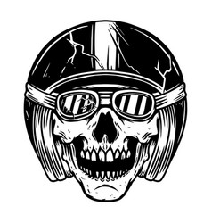 Racer skull in motorcycle helmet design element vector