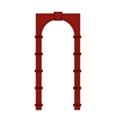 Red arch icon in flat style vector