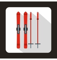 Red skis and ski poles icon flat style vector image