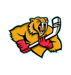 saber toothed cat ice hockey mascot vector image