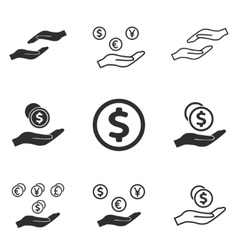 Salary icon set vector image