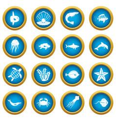 sea animals icons blue circle set vector image vector image