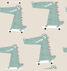 seamless pattern with crocodile on skateboard vector image