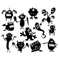 Set of cute halloween monster silhouettes vector