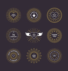 Set of Decorative Circle Line Art Frames with vector image