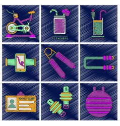 set of flat shading style icons gym equipment vector image
