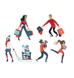 set of people doing shopping vector image