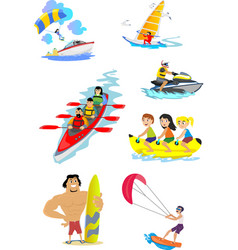 set of water extreme sports icons isolated design vector image