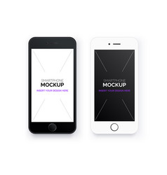 set realistic mobile phones mock up smartphone vector image