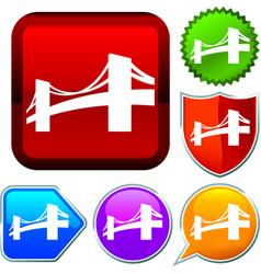 Set shiny icon series on buttons bridge vector