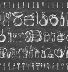 Set silhouette kitchen tools and beverages vector
