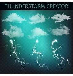 Sky creator with realistic clouds and vector image