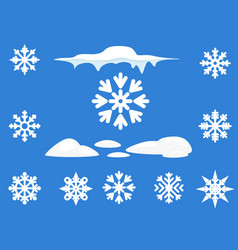 Snowflake winter set of blue on white background vector